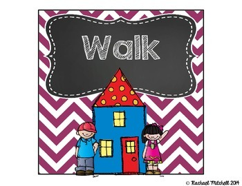 """Purple Chevron and Chalkboard """"How Do You Go Home?"""" Clip Chart"""