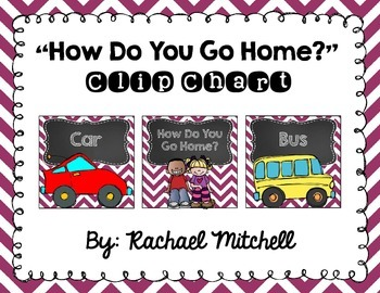 "Purple Chevron and Chalkboard ""How Do You Go Home?"" Clip Chart"