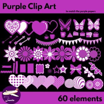 Purple Clip Art Decoration Scrapbooking Elements - 60 items