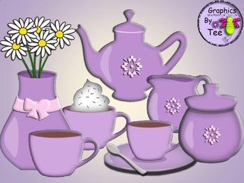Purple Coffee Set Clipart