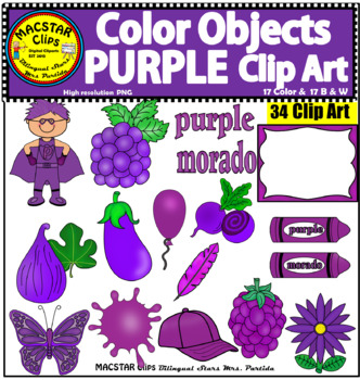 Purple Color Objects Clip Art English & Spanish Personal and Commercial Use