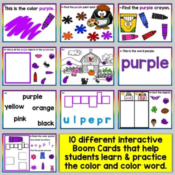 Purple Color Recognition Color Word Boom Cards (Learning Colors - Purple)