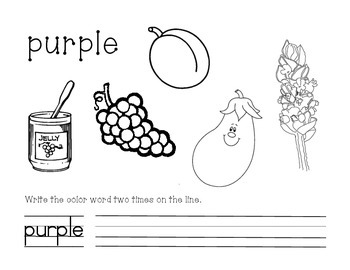 Purple Color and Write Worksheet