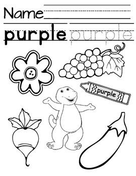 Purple Coloring/Tracing Page