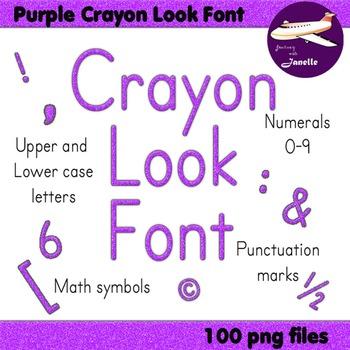Alphabet Clip Art Purple Crayon Look  Numerals, Punctuatio