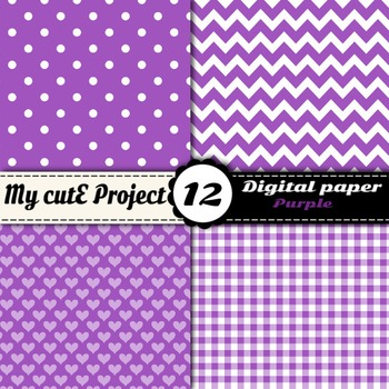"Purple DIGITAL PAPER - Scrapbooking - A4 & 12x12"" - Stripes, polka dots, chevron"