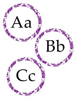 Purple Damask Alphabet Word Wall Cards