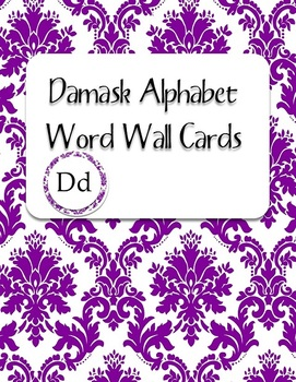 Purple Damask Alphabet Word Wall Cards