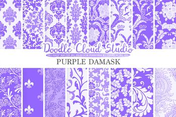 Purple Damask digital paper, Swirls patterns, Digital Floral Damask