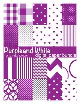 Purple and White Digital Paper