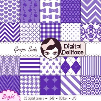 Purple Digital Paper, Damask, Chevron & Stripes
