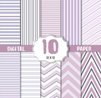 Purple Digital Paper, Digital Paper Pack, violet Striped Patterns