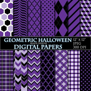Halloween Digital Papers Purple Digital Papers Geometric Scrapbooking Printable