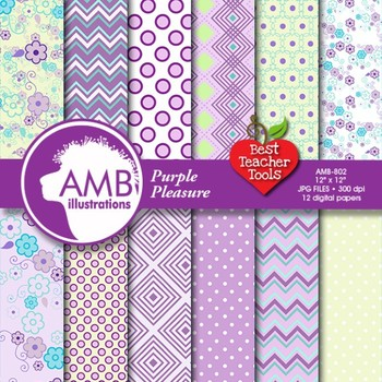 Digital Papers - Purple Digital Papers and backgrounds, AMB-802
