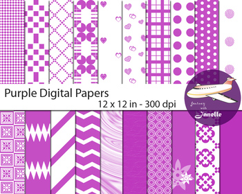 Purple  Digital Papers for Backgrounds, Scrapbooking and Classroom Decorations