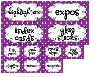 Purple Dot 22 Drawer Labels