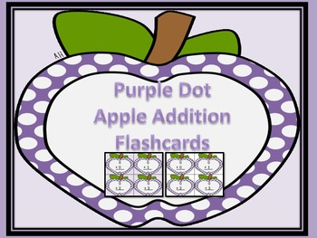 Purple Dot Apple Addition Flashcards 0-12