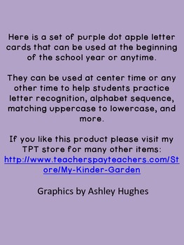 Purple Dot Apple Alphabet Letter Flashcards
