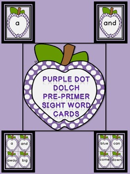 Purple Dot Apple  Dolch Pre-Primer Sight Word Flashcards and Posters