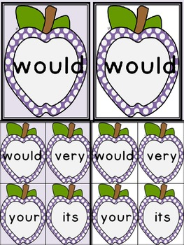 Purple Dot Apple Dolch Second Grade Sight Word Flashcards and Posters