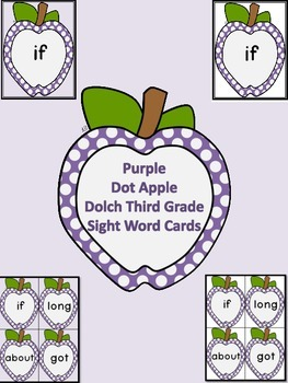 Purple Dot Apple Dolch Third Grade Sight Word Flashcards a