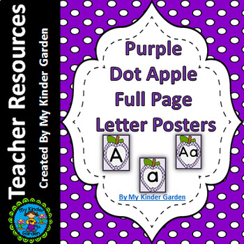 Purple Dot Apple Full Page Alphabet Letter Posters / Word Wall Headers