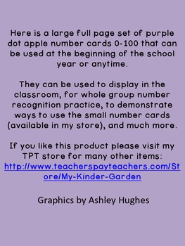Purple Dot Apple Full Page Number Posters 0-100