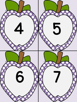 Purple Dot Apple Number Flashcards 0-100