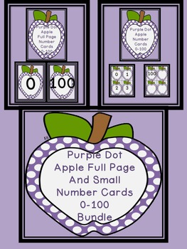 Purple Dot Apple Number Flashcards and Posters Bundle 0-100