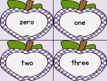 Purple Dot Apple Number Word Flashcards Zero To One Hundred