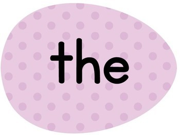 Purple Dot Easter Egg Dolch Pre-Primer Sight Word Posters and Flashcards
