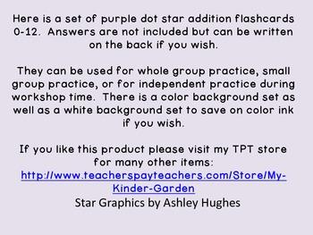 Purple Dot Star Addition Flashcards 0-12