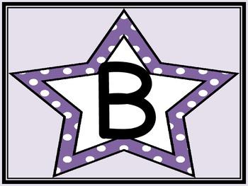Purple Dot Star Alphabet Letter Posters
