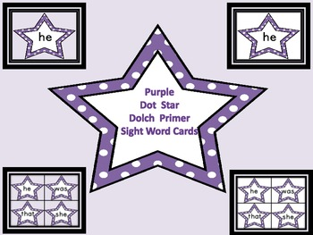 Purple Dot Star  Dolch Primer Sight Word Flashcards and Posters