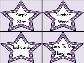 Purple Dot Star Number Word Flashcards Zero To One Hundred