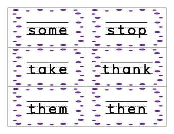 Purple Dots Word Wall Words 2