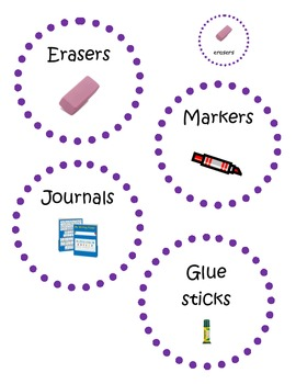 Purple Dotted Circle Classroom Labels