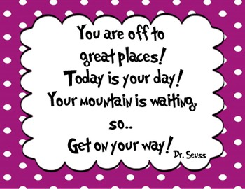 5 Purple Dr Seuss Quote Decor By The Comprehensive Counselor Tpt