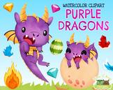 Purple Dragons Watercolor Clipart   Instant Download Vecto