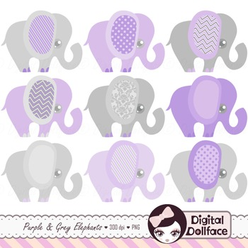 Purple Elephant Clip Art Set / Purple and Grey