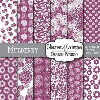 Mulberry Purple Floral Digital Paper 1513