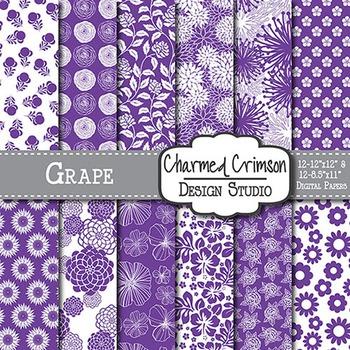 Purple Floral Digital Paper 1504