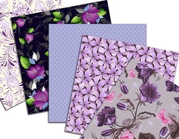 Purple Flower Digital Paper Purple Flower Scrapbook Paper Pack