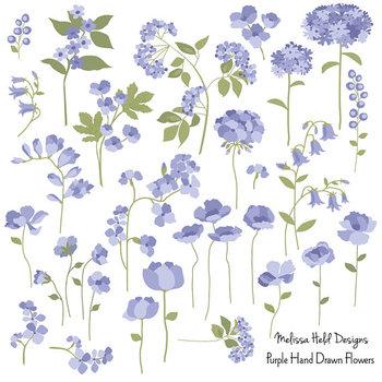 Purple Hand Drawn Flowers Clipart