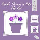 Purple Flowers in Plant Pots Clip Art Clipart Images Garden Yard Spring Summer