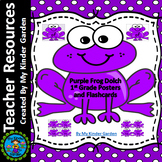 Purple Frog Dolch First Grade Sight Word Flashcards and Posters