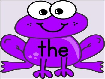 Purple Frog Dolch Pre-Primer Sight Word Flashcards and Posters