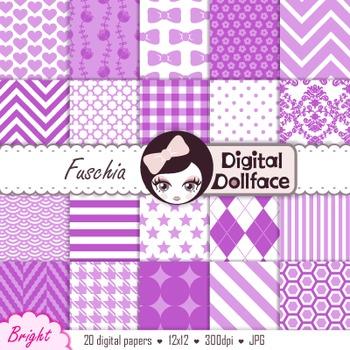 Purple, Fuschia Digital Paper Set, Scrapbooking Paper