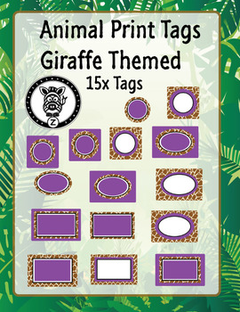 Purple & Giraffe Animal print labels