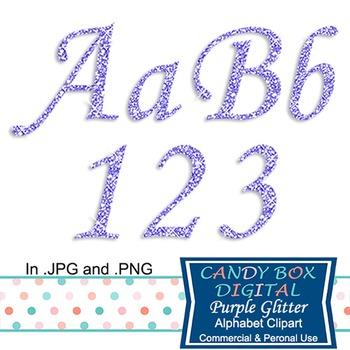 Purple Glitter Alphabet Clip Art
